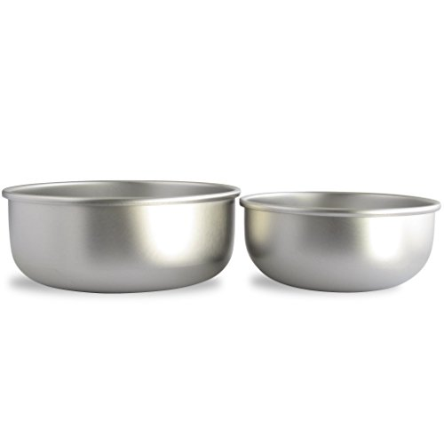 Basis Pet Made in the USA Stainless Steel Dog Bowl, Size Mix, 1 Medium and 1 Large Bowl