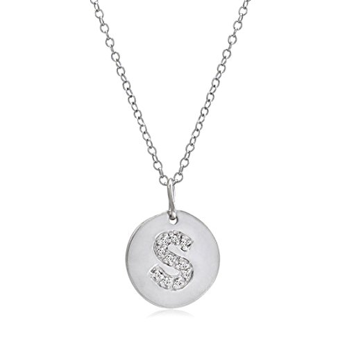Diamond Disc Initial S Pendant in Sterling Silver on an 18 inch ()