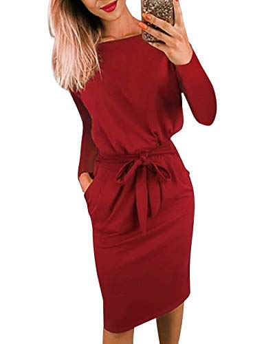 PRETTYGARDEN Women's 2018 Casual Long Sleeve Party Bodycon Sheath Belted Dress with Pockets (Y-Wine Red, Medium)