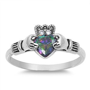 - 10MM Sterling Silver Simulated FIRE Mystic Rainbow Topaz HEART CZs Celtic Royal Claddagh Crown Ring size 4-12 (8.5)