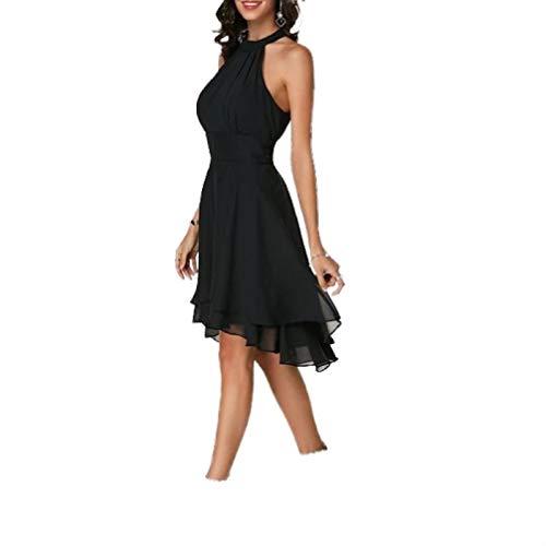 sexyliliforu Women's Fashion Summer Solid Color Cutout Back Layered Sleeveless Chiffon Party Evening Dresses Black