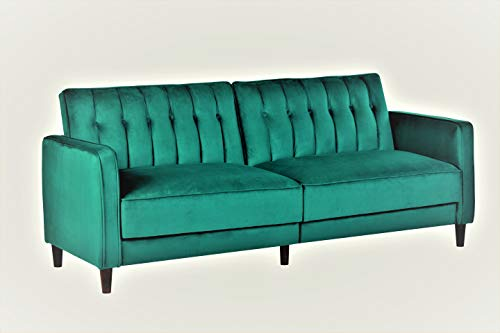 Container Furniture Direct SB-9027 Anastasia Mid Century Modern Velvet Tufted Convertible Sleeper Sofa, 81