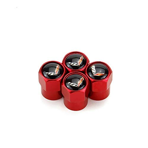 ffomo 4pcs Universal Metal Car Tire Valve Stem Air Caps Cover for Chevrolet Corvette Accessory