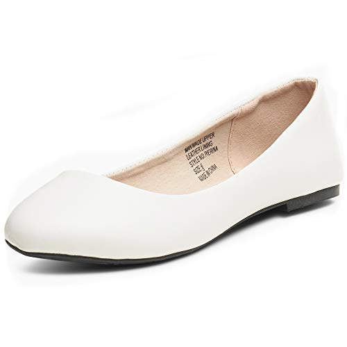 alpine swiss Womens White Leather Pierina Ballet Flats 6 M -