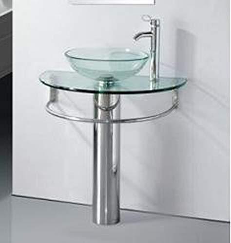"""30"""" Bathroom Pedestal Vanity Glass Vessel Sink Set"""