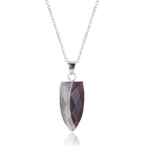 (S925 Grey Agate Necklace Natural Quartz Long Triangle Gemstone Necklace for Women Men )