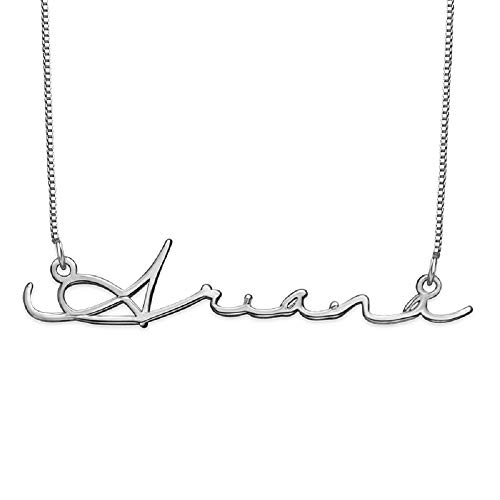 Personalized Signature Name Necklace - Sterling Silver Custom Made Jewelry Pendant