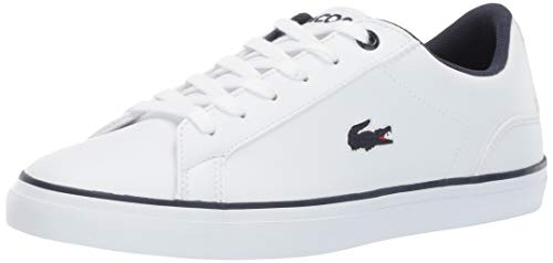 Lacoste Unisex Lerond Sneaker white navy 5 Medium US Big Kid (Lacoste For Kids Boys Shoes)
