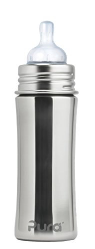 Pura Kiki 11 Oz / 325 Ml Stainless Steel Infant Bottle With Silicone Nipple & Sleeve Natural (Plastic Free, Nontoxic Certified, BPA Free)
