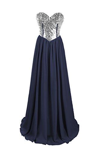 Dresstore Women's Chiffon Beaded Prom Dress Sweetheart Bridesmaid Evening Gowns Navy US 26Plus