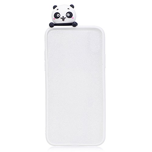 For Samsung Galaxy S8 Soft TPU 3D Cute Cartoon Slime Toy Doll Squishy Phone Case Cover Protective Shell (Banana) White panda