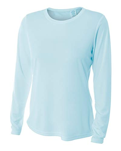 A4 Long Sleeve Cooling Performance Crew, Pastel Blue, Large ()