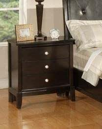 Roundhill Furniture Argein Fully Assembled Night Stand Dark Espresso Wood Finish