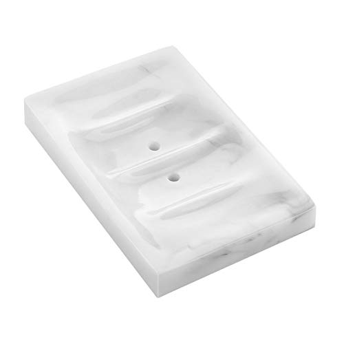 Soap Dish Draining, Luxspire Soap Dish, Resin Soap Bar Holder Container for Shower, Bathroom, Sink Bathtub Dish, Soap Tray, Soap Box Case, Holder for Sponges Hand Soap Dish Marble Pattern - Ink White