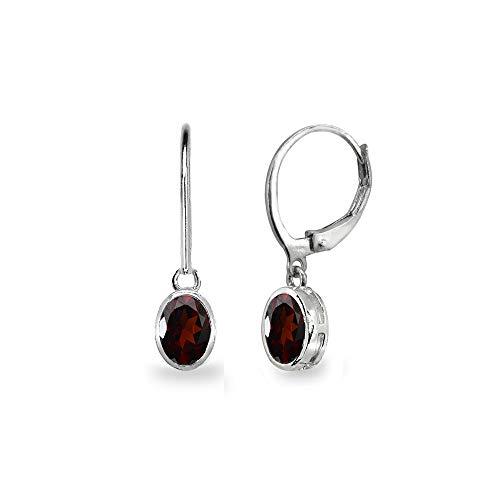 Sterling Silver Garnet 7x5mm Oval Bezel-Set Dainty Dangle Leverback Earrings for Women, Teen Girls