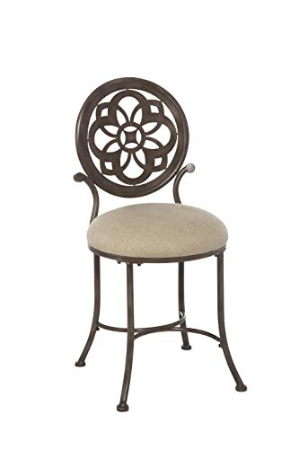 Hillsdale Furniture 50981 Marsala Vanity Stool, Gray with Brown highlighting with Cream Fabric (Bathroom Furniture Vintage)