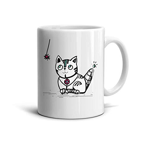 FGHGFFG Cute Cat Robot Simple Funny Espresso White Office Tea Mugs Cup Large 11oz330 ml
