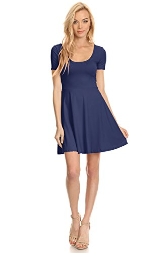 Womens Casual Short and 3/4 Sleeve Fit and Flare A Line Skater Dress Reg and Plus Size