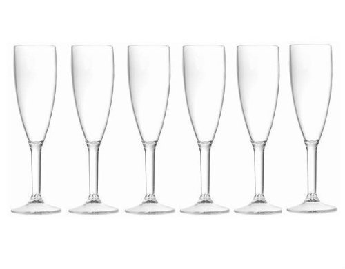 6 Premium Unbreakable Polycarbonate Champagne Flutes. Outdoor, Pool, Beach. Dishwasher Safe