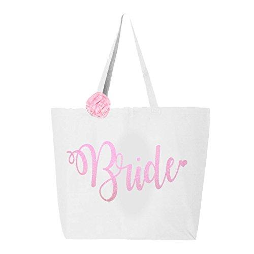 Classy Bride Glitter Tote Bride Bag - White and Pink