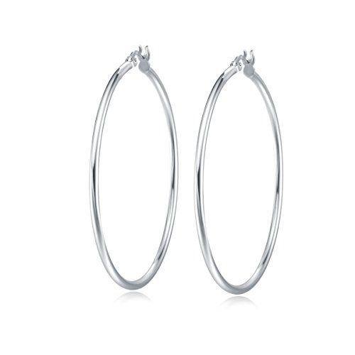 (Carleen White Gold Plated 925 Sterling Silver High Polished Round-Tube Click-Top Large Big Hoop Earrings for Women Girls (Diameter 50mm))