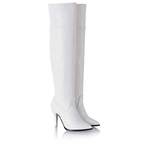 A&N Womens Winkle Pinker Stiletto Zipper Imitated Leather Boots White EYpO2sv