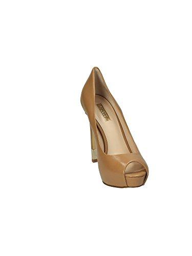 Guess escisión mujer Zapatos Hadie Open Toe Lether tacón 12 Pl 2,5 Camel Camel