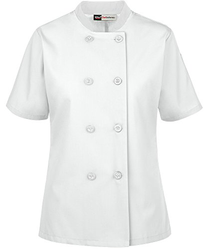 Women's Lightweight Short Sleeve Chef Coat (XS-3X, 3 Colors) (Medium, White) by ChefUniforms.com (Image #5)