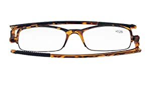 Eyekepper 360。 Foldable Temples Reading Glasses With Transparent Case Men Women (Tortoise Frame, 1.00)