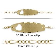 10 Karat Yellow Gold 7 Inch Baby Heart ID Bracelet