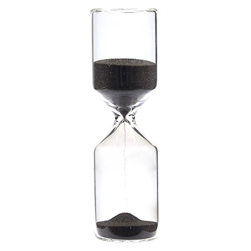 Sand Glass Hourglass Timer - 15 Minute Black Sand Timer Hand-Blown Durable Glass Hourglass Sand Clock - 1.4 x 4.9 x 1.4 Inches (15 Min Sand Timer)