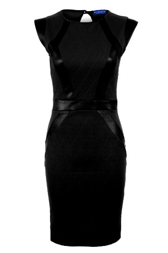 FANTASIA BOUTIQUE Gesteppte Damen Strukturiert PVC Steifen Panel Slim Stretch Bodycon Shorts Damen Kleid - Schwarz, 28 (UK 12)