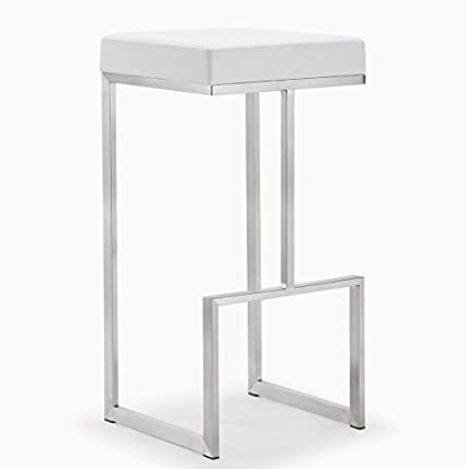 TOV Furniture The Ferrara Collection Modern Style Kitchen Bar Area  Eco Leather Upholstered Steel Barstool