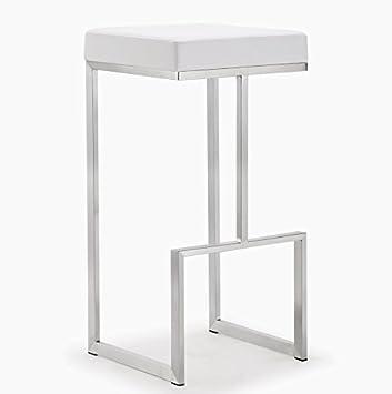 Tov Furniture Ferrara Stainless Steel Barstool Set of 2 , White