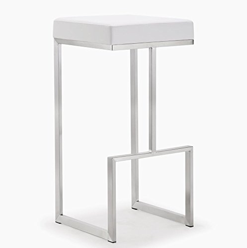 Tov Furniture Ferrara Stainless Steel Barstool (Set of 2), White