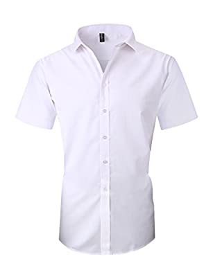 Taobian Mens Casual Business Short Sleeve Button Down Dress Shirt Slim Fit Cotton Shirts