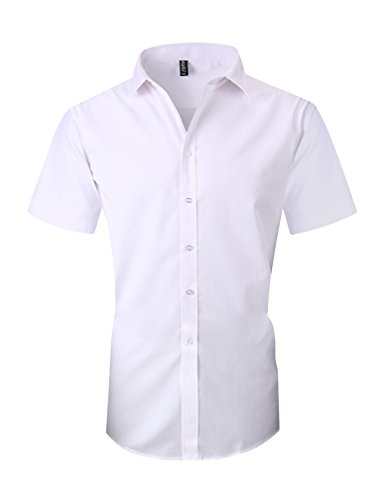 Taobian Mens Casual Business Short Sleeve Button Down Dress Shirt Slim Fit Cotton Shirts 1# White US X-Large(Asian Tag 5X-Large) by TAOBIAN Men Clothing