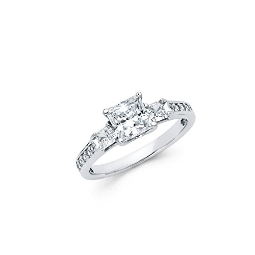 Sonia Jewels 925 Sterling Silver Three Stone Trellis Princess Cubic Zirconia CZ Engagement Ring Size 5.5 ()