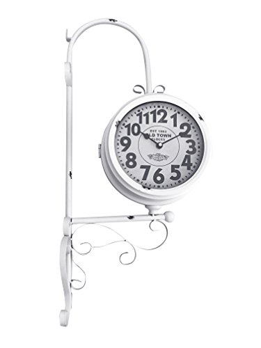 White Wrought Iron Vintage-Inspired Train Railway Station Style Round Double Side Two Faced Wall Hanging Clock - 25.5 inches tall
