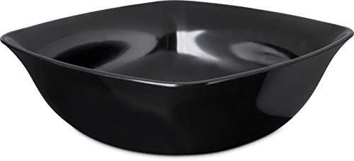 Carlisle 3336003 Flared Square Serving Bowl, 5 Quart, Black