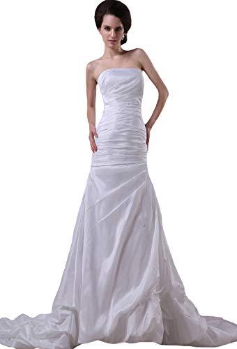 JOYNO BRIDE Taffeta Beading Ruffles Strapless Cathedral Length Sheath Wedding Dresses(16,Ivory) ()