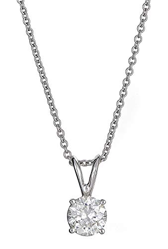 - AGS Certified 1/3 Cttw -Cut Diamond 14K White Gold Classic 4-Prong Pendant Necklace (M-N Color, I1-I2 Clarity), 16