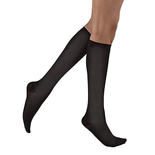 JOBST soSoft, Knee High Compression Socks, Ribbed, 8-15 mmHg, Black, LG