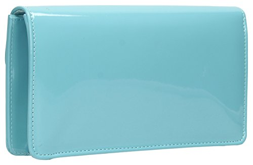 Clutch Light Party Style SwankySwans Patent Blue Evening Bridal Prom Paris Envelope Bag wx0AFn7Xqv