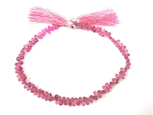 GemAbyss Beads Gemstone Natural Pink Tourmaline Faceted Teardrop Gemstone Beads, Pink Tourmaline Teardrop,Tourmaline Briolettes 3x5 mm,Teardrop Briolette 10 Inch Long Inch Code-MVG-2431 ()