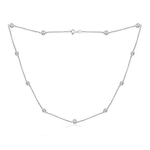 J'ADMIRE 4mm Swarovski Zirconia Round-Cut Station Necklace, Platinum Plated Sterling Silver, 18