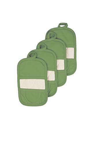 Ritz Royale Collection 100% Cotton Terry Cloth Ritz Mitz, Dual-Function Pot Holder / Oven Mitt Set, 4-Pack, Cactus Green ()