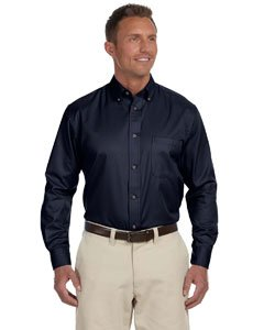 Harriton Men's Easy Blend Long-Sleeve Twill Shirt with Stain-Release - NAVY - L