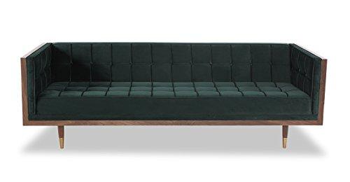 Velvet Jade - Kardiel Woodrow Midcentury Modern Box Sofa, Jade Velvet/Walnut