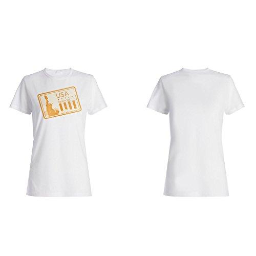 New york usa briefmarke weinlese lustig retro Damen T-shirt f978f